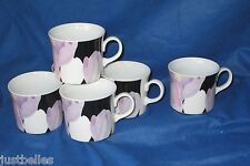 Mikasa VOGUE L1052 Coffee Cups (set of TWO)  Purple, Pink flowers on black