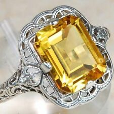 Elegant 925 Sterling Silver Yellow Citrine Topaz Engagement Ring Size: 9