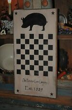 Vintage Looking Wood Sign Hand Painted Pig Game Board Country Primitive Decor