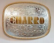 El Charro fibbia F500 Silver Con Disegno Floreale Scritta El Charro In Rilievo