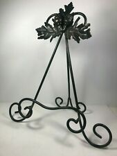"Acorns & Fall Leaves Metal Cookbook Holder Stand 15"" Tall Collapsible Green"
