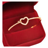Rhinestone Gold Fashion Style Bracelet Love Heart Bracelet Cuff Jewelry W3X4