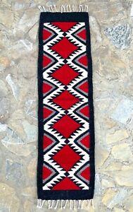 "Zapotec Oaxacan 11""x39"" Hand Woven Western Rhombus Home Runner Wool Tapestry Rug"