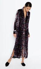 EQUIPMENT Black Paisley Print Velvet Long Sleeve Johanna Maxi Dress S NEW