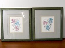 Two (2) Iris & Iris II Prints by Pat Moran - Signed and Framed Print - 19 X 21