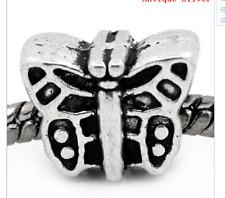 silver butterfly charm slide bead spacer spring Easter gift cute beads UK seller