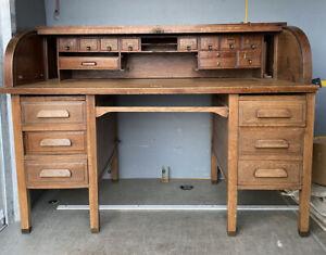 Large Antique Vintage Roll Top Pedestal Partners Desk