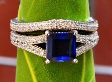 14k White Gold 3.00cts Blue Sapphire Diamond Engagement Ring Wedding Band