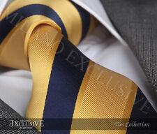 GOLD & NAVY BLUE STRIPE SILK TIE - ITALIAN DESIGNER Milano Exclusive