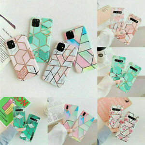Geometric Marble Glossy Case Soft Phone Cover For iPhone 11 Pro Max 8 7 XR Xs