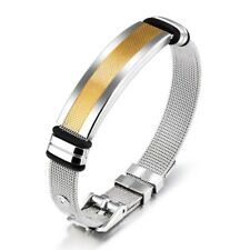 Women And Men's Bracelet Stainless Steel Strap Band With Gold Stripe Plate HOT