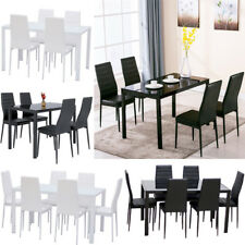Modern Gloss Dining Table With 4/6 Chairs Set Kitchen Tempered Glass Black/White