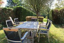 Salon de jardin, table, 6 chaises et parasol en très bon état