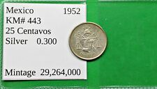 New ListingWorld Foreign Old Mexico 1952 Silver 25 Centavo Coin Km# 443 !