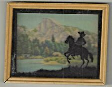 "5"" X 4""VINTAGE BLACK SILHOUETTE FRAMED PICTURE COWBOY HORSE HALF-DOME YOSEMITE"