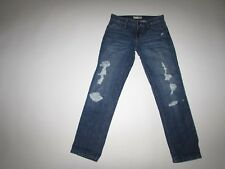 David Kahn Women's Lana Crop Jeans Size 25 x 27.5 Low Rise Blue Distressed Wash