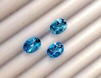 9x7 mm Natural Swiss Blue Topaz Oval Flawless Clarity loose Gemstones Fine Cut