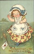 TUCK Valentine - Little Girl Bonnet Hat Drayton Wiederseim c1910 Postcard