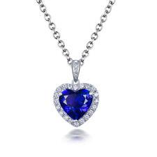 18K White Gold AAA Graded Tanzanite Diamonds Wedding Heart Shape Pendant