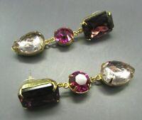Vintage HUGE RHINESTONE DANGLE EARRINGS Purple Hot Pink GOLD TEAR DROP Classy!!