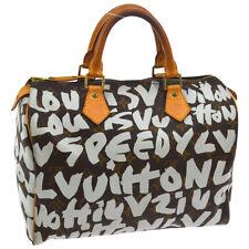 AUTH LOUIS VUITTON SPEEDY 30 HAND BAG WHITE MONOGRAM GRAFFITI M92195 A41445k