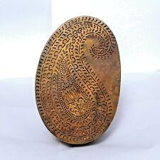 Old 1900's Antique Traditional Handmade Brass Print Block for Emboss Design #680