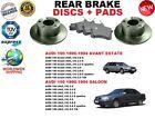 FOR AUDI 100 SALOON ESTATE AVANT 97-05 SOLID REAR BRAKE DISC SET + BRAKE PAD KIT