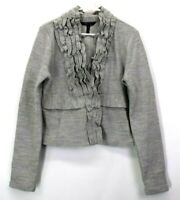 BCBG Max Azria Women's Large Long Sleeve Clasp Front Wool Cardigan Sweater