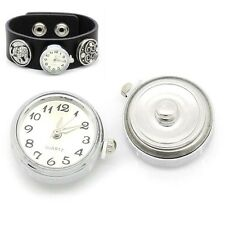 Fashion Silver Plated Watch Face Snap Buttons Charm Chunk DIY Bracelets