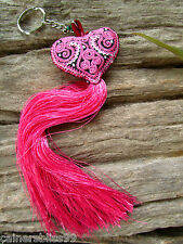 Embroidered Pink Heart Long Tassel Bell Keyring Bag Charm Tribe Hippie Ibiza