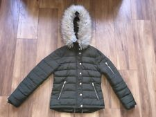 girls/ladies size 8 topshop khaki green quilted jacket coat parka puffa puffer V