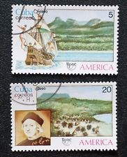 1CUBA Sc# 3249-3250  UPAEP - DISCOVERY OF AMERICA Cpl set of 2 1990  used / cto