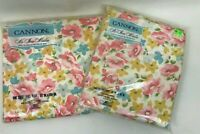 Set Sheets Vintage Full Flat & Pillowcases Floral New Pink Blue Cannon No Iron