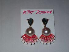 "NWT Betsey Johnson ""The Sea"" Faux Pearl & Abalone Shell Drop Earrings"
