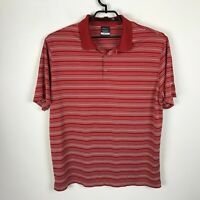 Nike Golf Polo Shirt Sz XL Dri-Fit Red White Polyester Short Sleeve Striped Mens