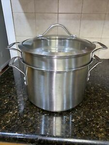 Calphalon 8QT Stainless Steel  Sauce Pot with Strainer/Steamer & Glass Lid 8608