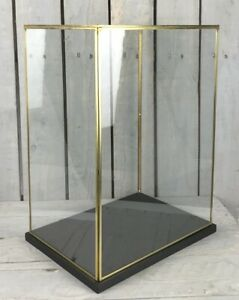 Hand Made Large Glass and Brass Display Showcase Box Dome With Black Wooden B...