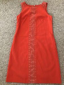 """Nine West Orange Sleeveless Shift Dress Lace Inserts Size UK 10 US 6 Chest 35"""""""