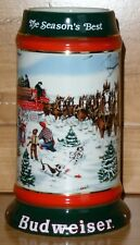 Budweiser Stein THE SEASON'S BEST 1991 Beer Mug Clydesdales Hitch & Wagon