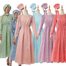Pioneer Colonial Women Costume Floral Dress Prairie Civil War Peasant Maid+Hat
