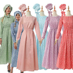 Pioneer Colonial Women Costume Floral Dress Prairie Civil War Peasant Maid+Hat