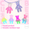 Bright Kawaii Teddy Necklace Pendant Pastel Goth Glitter Kids Neck Rope Gift UK
