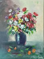 ANWER ESTTAIFAN OIL PAINTING IMPRESSIONISM FLOWERS SIGNED PALETTE KNIFE STYLE