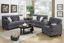 Sofa Set 3 Pcs Sofa Loveseat & Chair In Gray Microfiber Living Room Furniture