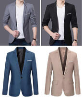 Office Work Men Slim Fit Long Sleeve Formal One Button Suit Coat Jacket Blazers