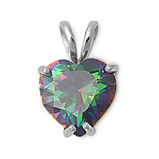 VALENTINE'S GIFT! Rainbow Colored Topaz Heart .925 Sterling Silver Pendant