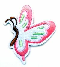 Butterfly Iron On Patch- Pink Nature Garden Embroidered Badge Applique Crafts