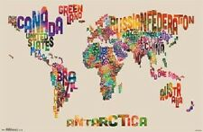 WORLD MAP POSTER TEXT style 34x22 new free shipping