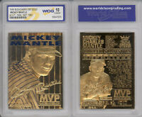 1996 MICKEY MANTLE 3-TIME MVP NY YANKEES 23K GOLD CARD - GRADED GEM-MINT 10