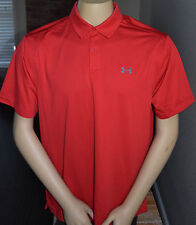 NEW UNDER ARMOUR MENS HEATGEAR COOLSWITCH POLO LRG LOOSE FIT TRUE RED GOLF SHIRT